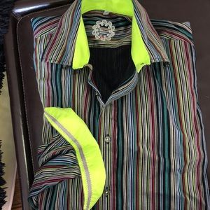 Other - Tailored Striped Dress Shirt with Neon Accents SzM